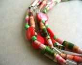 Handmade Long Paper Bead Necklace. Flapper length or multistrand choker. Rose Pink and Green. Rolled Paperbeads.