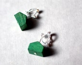Reserved: Clip-on Dangly Green House Earrings.