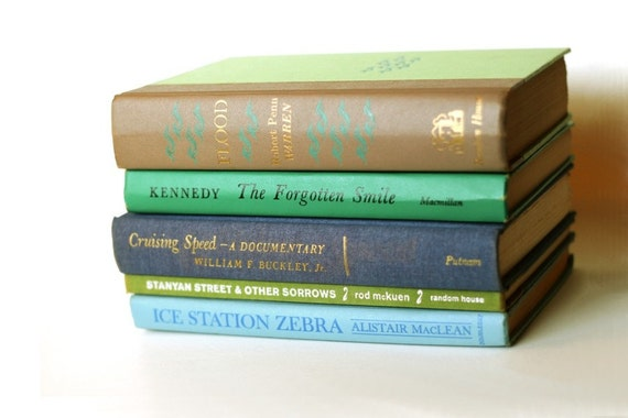 Vintage Books, Five Hardcover, Green Blue Hues, cool water interior design colors - Instant Collection (5)