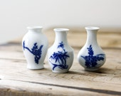 Tiny Asian Vases in Blue and White