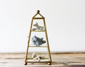 Brass and Glass Curio Cabinet, Obelisk Shape