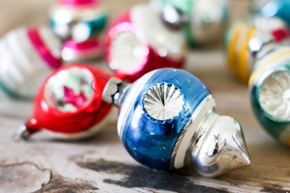 Indent Christmas Ornaments, Set of 13 Antique Multi-Colored Glass Ornaments