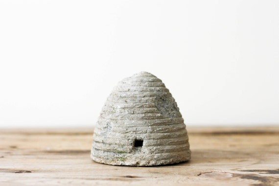 RESERVED for Kimberly - Weathered Concrete Bee Skep