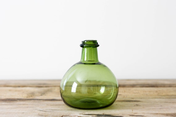 Green Blown Glass Bottle