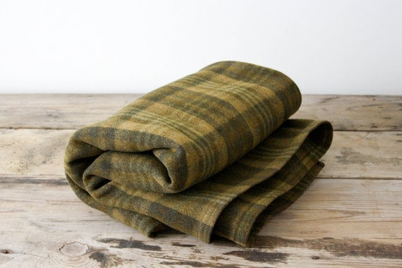 Green Plaid Wool Blanket