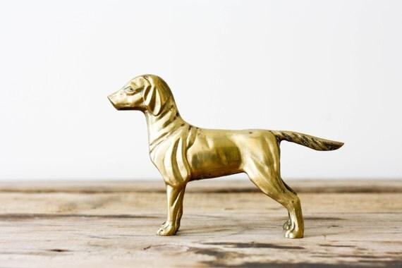 Vintage Brass Retriever Dog