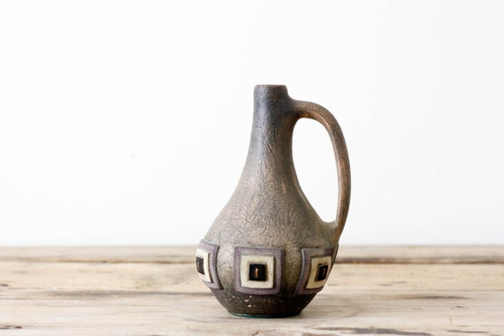 Tribal Pottery Vase with Leather Accents