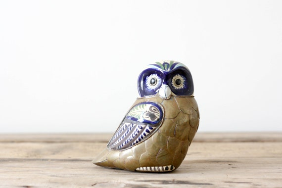 Brass and Ceramic Owl, Vintage Mexican Folk Art