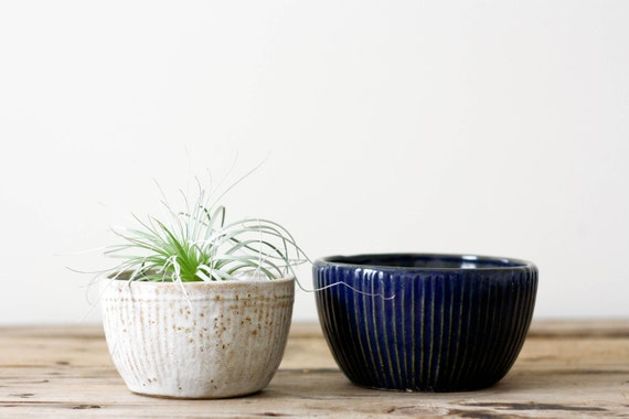 Vintage Pottery Planters, Rustic Blue and White Bowl Planters, Set of Two