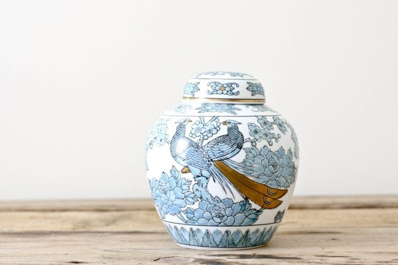 Vintage Ginger Jar in Sky Blue, White and Gold with Pheasant Motif by Gold Imari of Japan