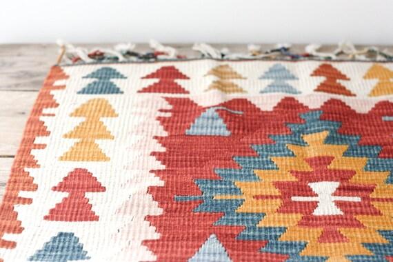 Vintage Tribal Wool Throw Rug Kilim