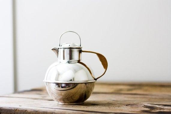Art Deco Teapot, Vintage Silver Plate Pitcher
