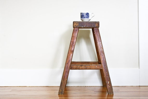 Vintage Handmade Wooden Stool