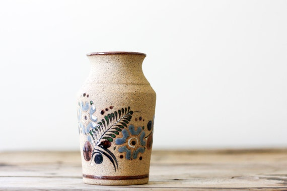 Vintage Mexican Folk Art Pottery Vase