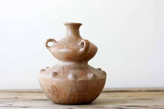 SUMMER SALE Vintage Tribal Pottery Vase