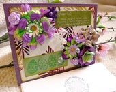 Eclectic Shabby Chic Everday Cheerful - Purple - Card - OOAK - Handmade card with Cardstock - High Quality - Flowers, Gems, Shine, Spring