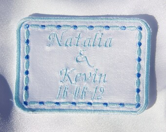 Wedding Dress Label  rectangle Satin by Natalia Sabins Custom Embroidered