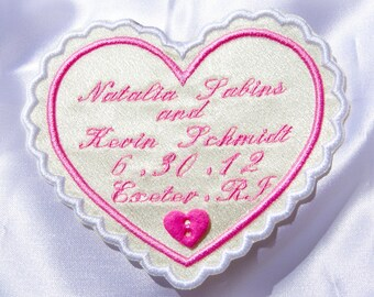 Wedding faver , Personalized Wedding Dress Label,   heart , White Satin ,  Custom Embroidered