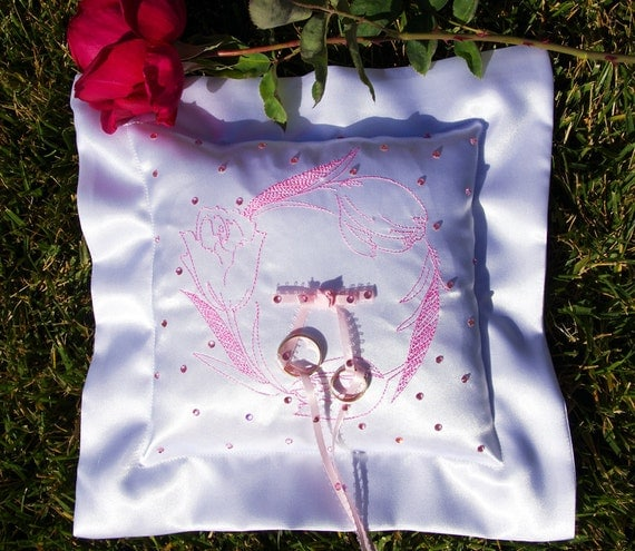 Custom embroidered wedding ring pillow day