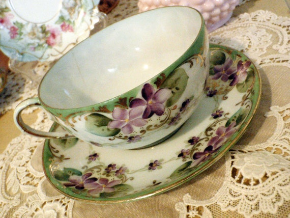 REDUCED Vintage Tea Time Violet Garden, Dainty Hand Painted Teacup and Saucer