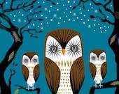 iOTA iLLUSTRATION - Three Lazy Owls - Animal Art - Limited Edition Print