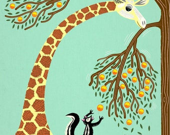 Lending A Neck - Giraffe and Skunk - Children's Wall Art / Decor - Animal Art - Limited Edition Print - iOTA iLLUSTRATION