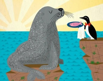 Sealed With A Fish - Limited Edition - Animal Art Print - iOTA iLLUSTRATION
