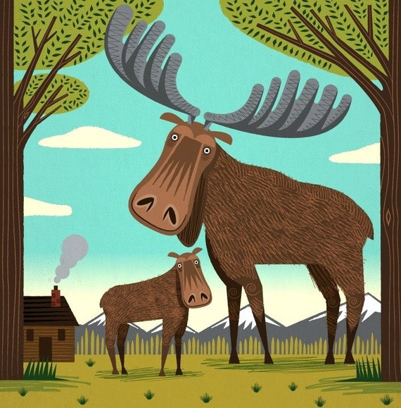 The Magnificent Moose - Animal Art - Limited Edition Print - iOTA iLLUSTRATION
