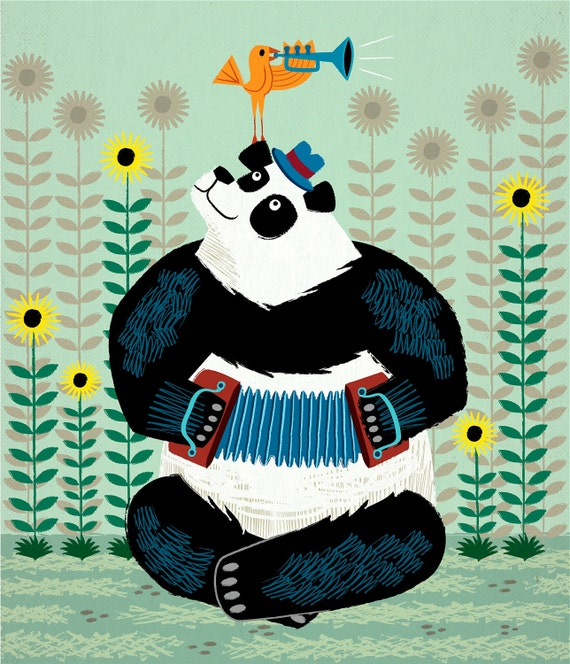 Panda Piazzolla and The Trumpet Bird  - Limited Edition Print - iOTA iLLUSTRATION