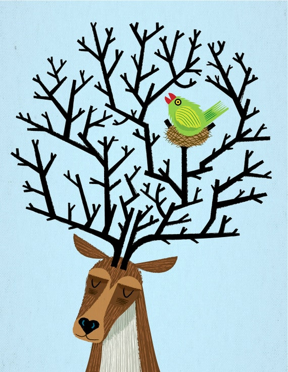 The Tree Stag and The Green Finch - Animal Friends - Animal Art - Nursery art - Children's Art - Nursery Decor - Ltd Ed Print by Oliver Lake