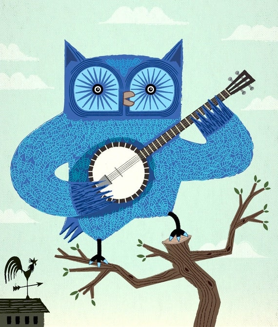 iOTA iLLUSTRATION - The Banjowl - Ltd Edition - Children's art - Light Green - Owl Print
