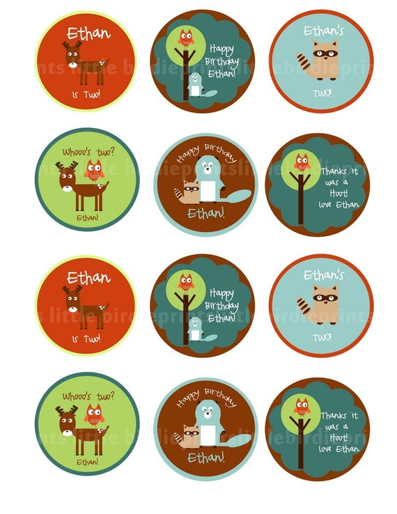 WOODLAND ANIMALS Cupcake Toppers/Party Circles with Beaver, Owl, Raccoon and Moose.
