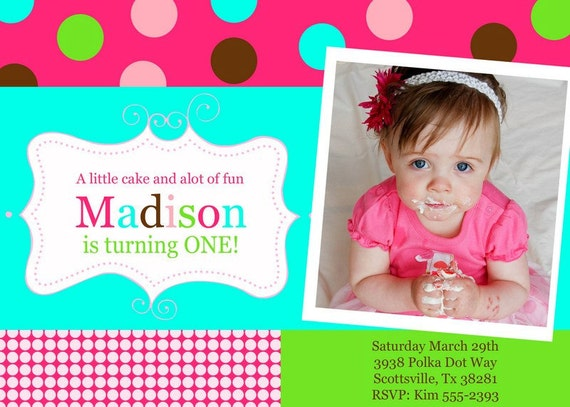 FUN POLKA DOTS Birthday Party Invitation with Photo. Printable