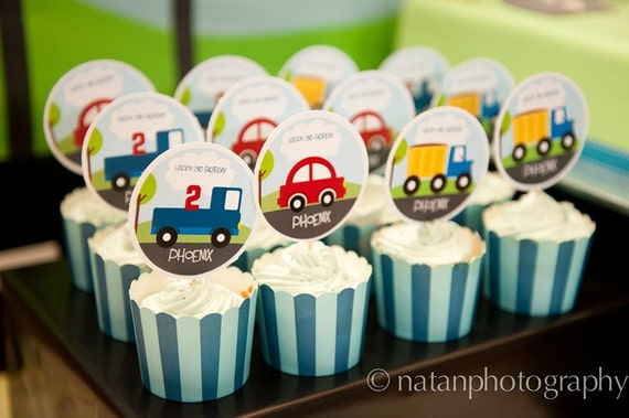 LITTLE CARS and TRUCKS Party Circles/Cupcake Toppers Printable Cars and trucks birthday party