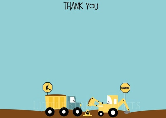 Loads of Fun CONSTRUCTION Thank you card