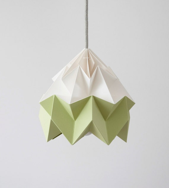 Moth origami lampshade autumn green and white