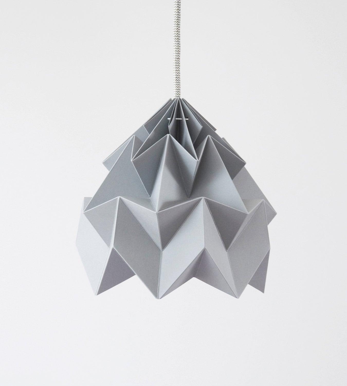 Lamp Of Paper: Origami Paper Lamp Shade Moth Grey