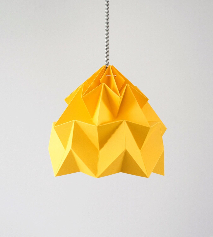 Pendant Lamp Shade Paper: Paper Pendant Lamp Shade Moth Gold Yellow
