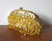 1950s Vintage Beaded Yellow Silk Purse