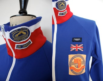 Vintage 1970s Blue Swimming Team Training Jacket Size M