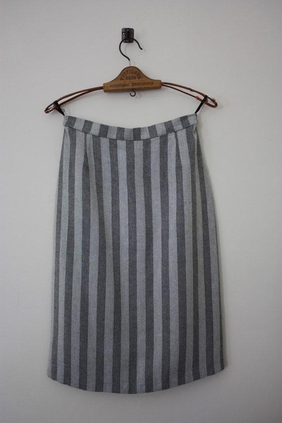 Vintage 1980s Black And White Herringbone Pencil Skirt Size 12