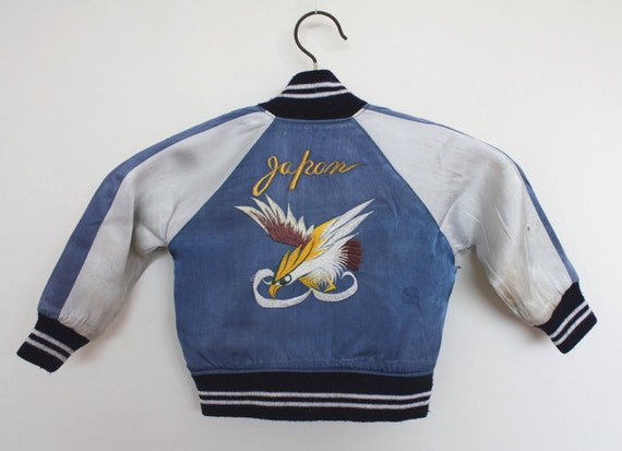 Vintage Rare 1950s  Japan Satin Souvenir Tour Childs Jacket with Eagle Size XS