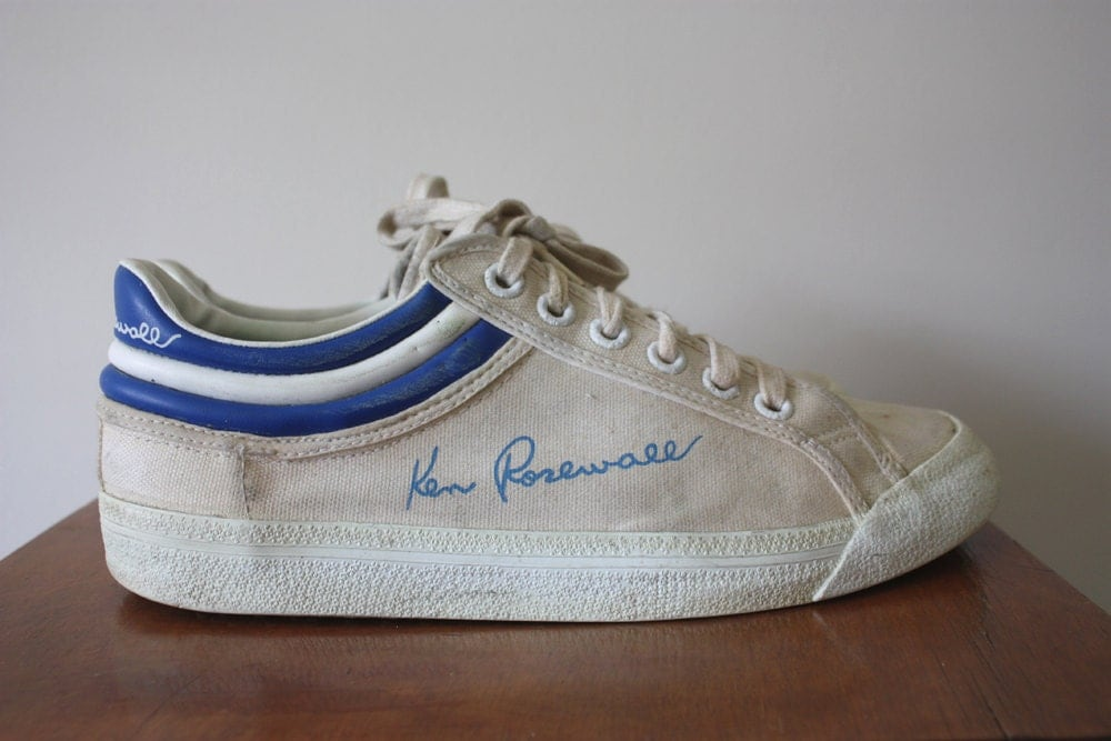 Vintage 1970s Ken Rosewall White Canvas Tennis Sneakers Size