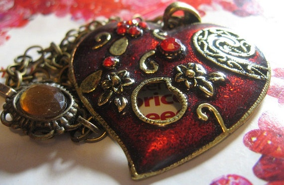 Red and Gold Enamel Heart Pendant with Brass Chain FREE SHIPPING