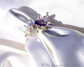 Handcrafted Swarovski Fascination Amethyst and Crystal Sterling Silver Ring