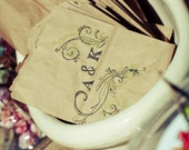 SALE... 50 Unique Wedding Favor CANDY BAGS. Custom. Rustic Chic. Hand Stamped.