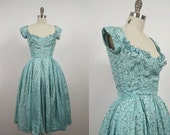 1950s Party Dress / 50s Water Color Floral Dress / Mollie Parnis