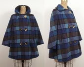 Reserved 1960s Blue Wool Coat / 60s Checkered Swing Coat Reserved