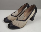 1940s Spectator Shoes / 40s Peep Toe Heels / Two Tone / Size 9 - 9 1/2