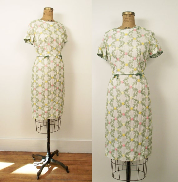 1960s Wiggle Dress / 60s Embroidered Dress / Puritan Forever Young